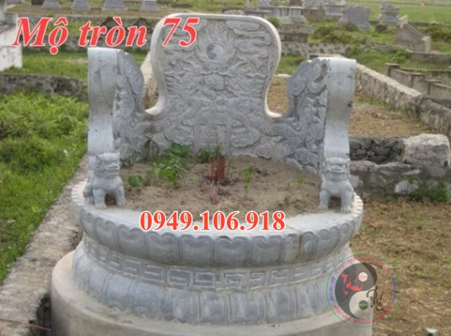 Xây mộ tròn bằng đá đẹp 75