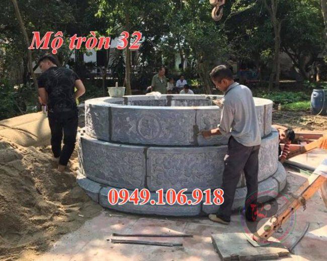 Xây mộ tròn đẹp bằng đá 32