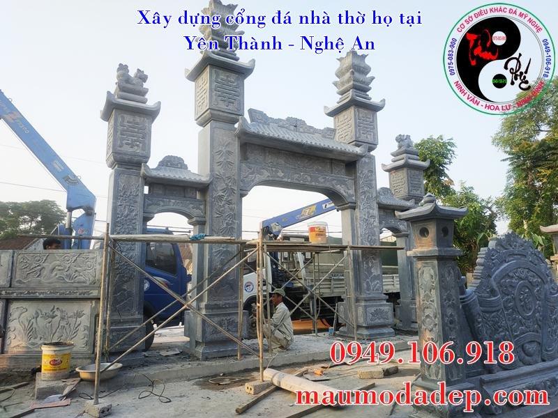 Hoàn thiện lắp đặt cổng đá nhà thờ họ Nguyễn Cảnh