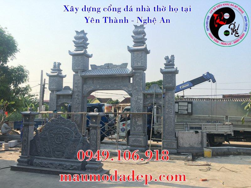 Mẫu cổng đá Ninh Bình lắp đặt tại Nghệ An