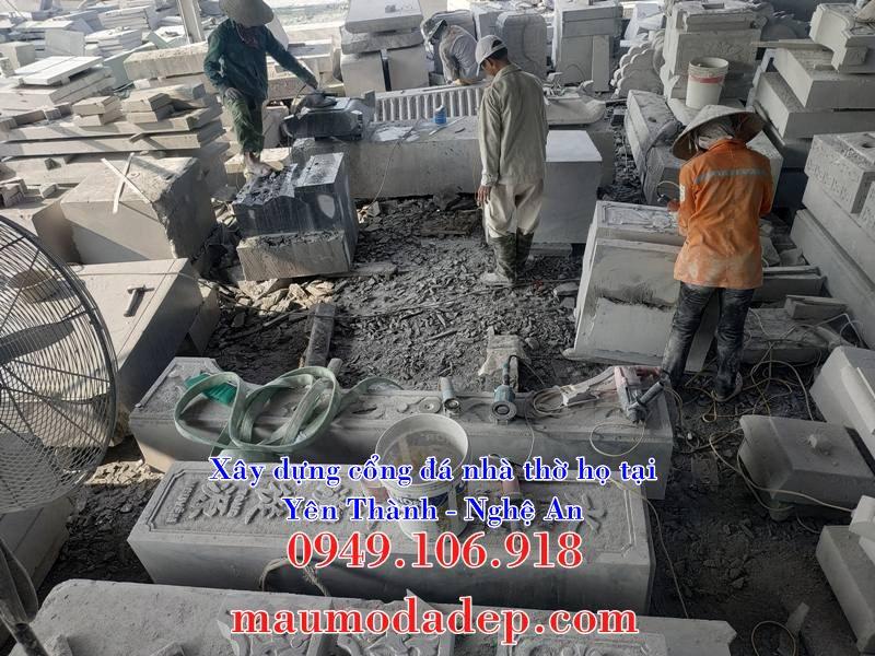 Thi công sản xuất cổng đá tại xưởng đá Ninh Bình