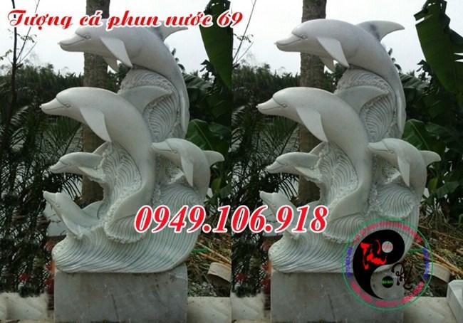 Mẫu tượng cá heo phong thủy phun nước bằng đá đẹp 69