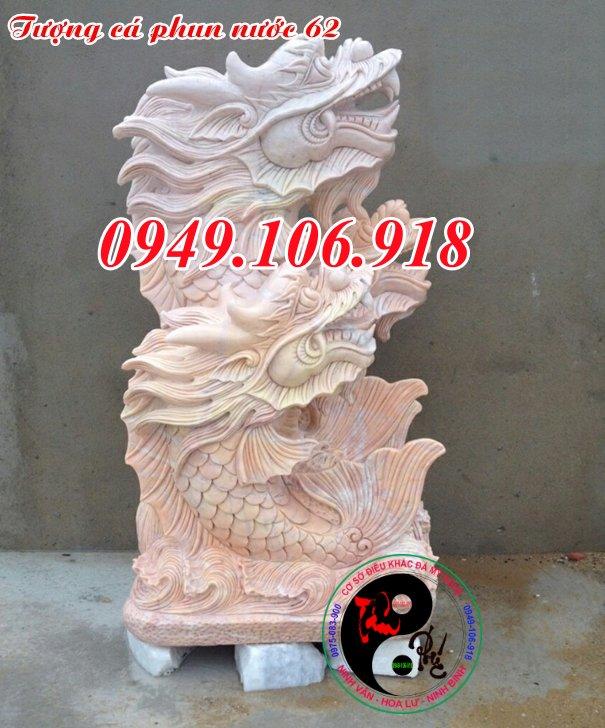 Tượng cá chép hóa rồng phong thủy phun nước đẹp 62
