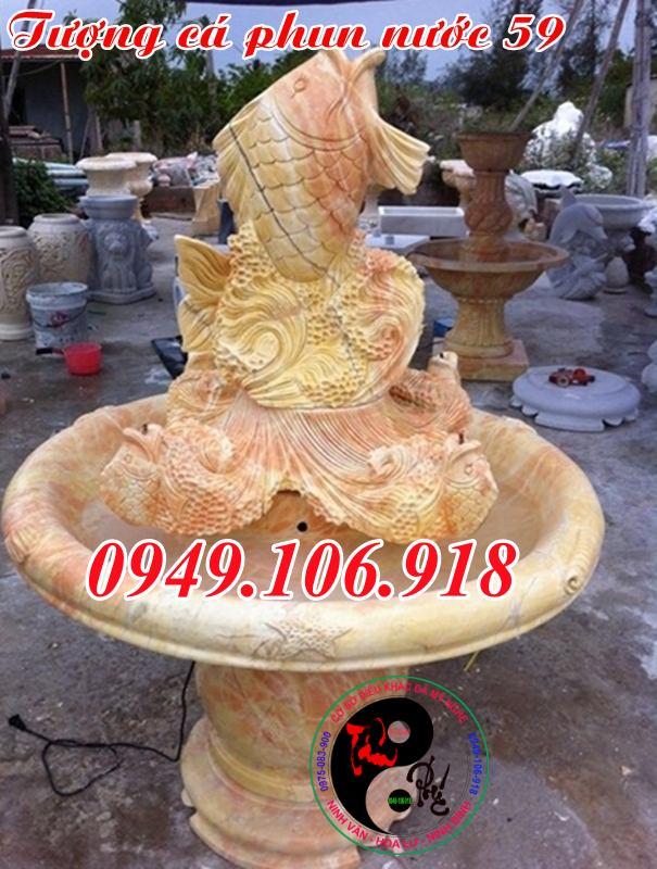Trụ đá đài phun nước cá chép phong thủy bằng đá vàng 59
