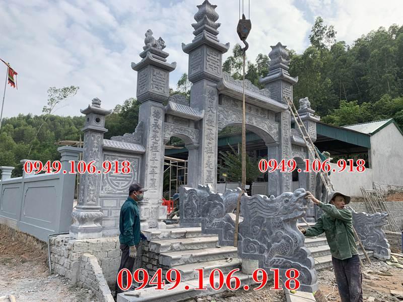 Lắp đặt rồng đá nhà thờ họ Phan