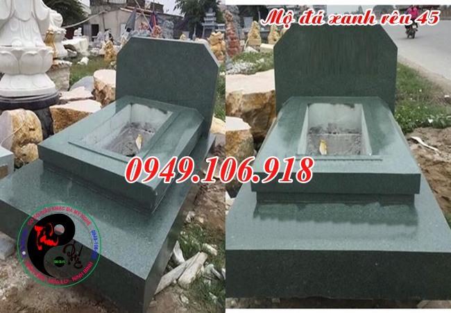 Mẫu mộ đá xanh rêu bằng đá khối bền đẹp