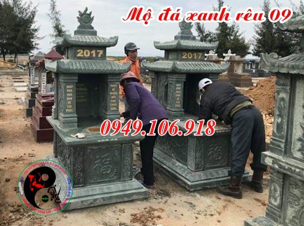 Mẫu mộ đá xanh rêu thiết kế đẹp